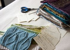 Organization idea for knitting swatches from Tricksy Knitter
