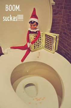 Inappropriate and Hilarious Elf on a Shelf ideas for ADULTS (we don't all have kids, ya know!) MM's rendition of this, use playdoh for the ones in the toilet, color them with sharpies and let dry (same color as the pills) write the memo on the toilet lid seat with a dry erase marker.