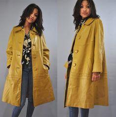 mustard leather coat