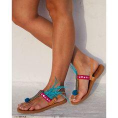 RiRiPoM Greek Leather Sandals Feather Sandals Pom Pom (€129) found on Polyvore