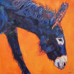 """Colorful Contemporary Wildlife Painting, Donkey Art """"Clementine"""" Contemporary Animal Artist Patricia A. Griffin-24""""x24""""-Available"""