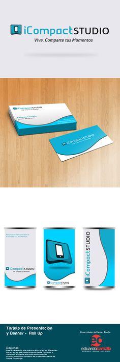 Logo: iCompactSTUDIO / Marca Corporativa / Tarjetas de Presentación /  Banner - Roll Up / by Eduardo Carballo