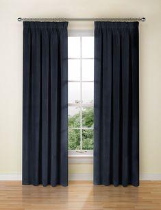 M & S Lined Navy Velvet Pencil Pleat Curtains Curtain)New Pleated Curtains, Velvet Curtains, Home Furnishing Accessories, Home Furnishings, Curtains Ready Made, Loft Furniture, Pencil Pleat, Elegant Living Room