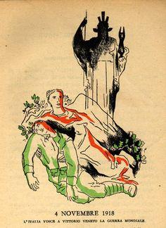 1939.  P.N.F. Gioventù Italiana del Littorio. Il Libro della Quinta Classe. Letture. Per i bambini della quinta elementare: un caduto della prima guerra mondiale, fra i simboli dell'alloro (a sinistra) e della quercia (a destra).