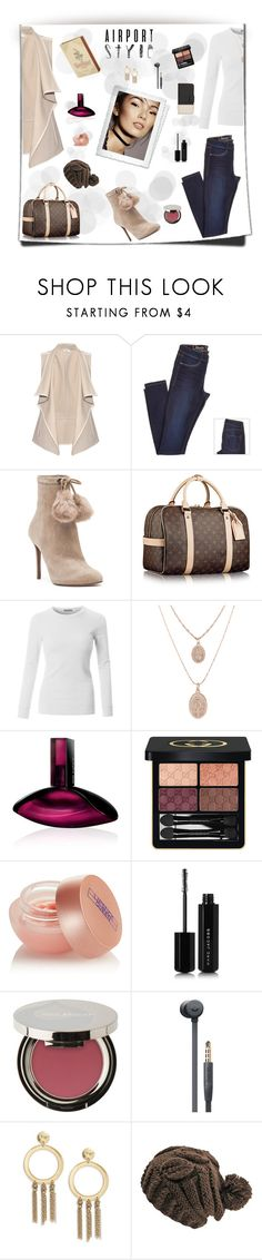 """""""Airport Style"""" by ljano ❤ liked on Polyvore featuring Vince, MICHAEL Michael Kors, LE3NO, Calvin Klein, Gucci, Lipstick Queen, Marc Jacobs, Juice Beauty, Beats by Dr. Dre and Lucky Brand"""