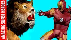 Ironman Cartoons Finger Family Rhymes for Children   Lion Vs Wild Buffal...
