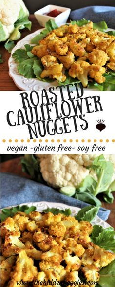 Roasted Cauliflower Nuggets are gluten free, soy free, and vegan. Low fat, easy to make, and kids love them! They make great toddler food too! thehiddenveggies.com
