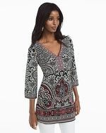Three-Quarter Sleeve Paisley Printed Tunic