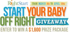 Start Your Baby Off Right Giveaway - Right Start Blog - $1,600 Prize Package!