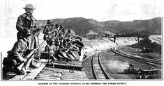 The Ludlow Massacre was an attack by the Colorado National Guard and Colorado Fuel & Iron Company camp guards on a tent colony of 1,200 striking coal miners and their families at Ludlow, Colorado on April 20, 1914. Here, the Colorado National Guard soldiers entering the strike zone.