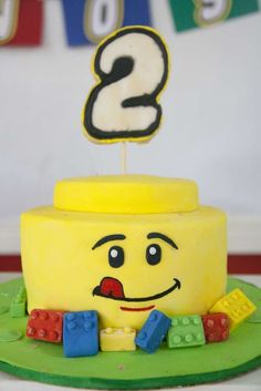 Lego birthday party cake! See more party ideas at CatchMyParty.com!