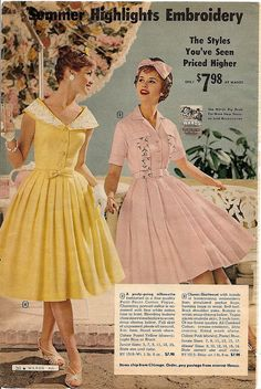 Adorable styles, darling confectionery hues. #vintage #dress #retro #fashion #1950s #dress #pink #yellow