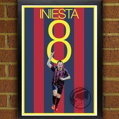 7b48a8b625a Andres Iniesta 8 Poster - Barcelona FC - Spain Soccer Poster- 8x10