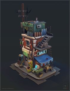 OldComputerStore Handpainted Stephan Schattmann on ArtStation at Isometric Art, Isometric Design, Building Concept, 3d Building, Environment Concept Art, Environment Design, Pixel Art, Game Art, Cartoon Building