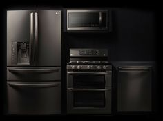 "& I've always loved black appliances and am thrilled that they now have black stainless! ""Discover the LG Black Stainless Steel Series. Featuring a black stainless steel finish and the latest technology, it's at the forefront of style and innovation. Home Design, Küchen Design, Booth Design, Design Trends, Stainless Steel Appliances, Black Stainless Steel, Cocinas Kitchen, Black Kitchens, Kitchen Black"