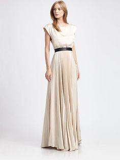 Alice + Olivia - Triss Pleated Silk Maxi Dress