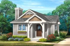Endearing Craftsman Cottage Plan with Covered Deck - Small Cottage Plans, Small Cottage Homes, Small Cottages, Cottage House Plans, Small Houses, Tiny Homes, Guest Cottage Plans, Dream Homes, House Plans One Story