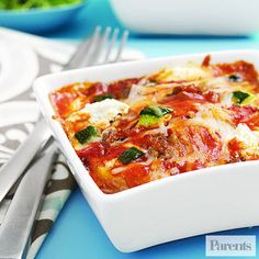 Rich and creamy polenta replaces the pasta, which helps cut down the prep time for this lasagna recipe.