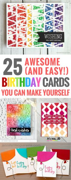 25 Cute Easy DIY Birthday Cards You can Make Yourself, handmade, greeting card, papercraft Creative Birthday Cards, Simple Birthday Cards, Birthday Cards For Friends, Handmade Birthday Cards, Friend Birthday, Handmade Cards, Paper Cards, Diy Cards, Wish You Happy Birthday