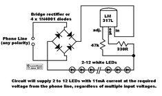 Esse é um circuito de iluminação de emergência com LEDs que usa a eletricidade da linha telefônica. Geralmente a linha telefônica tem um tensão DC 48V e algo em torno de 20 mA,
