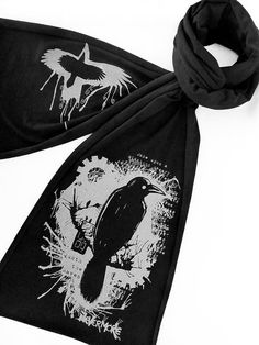 Nevermore Raven Scarf Edgar Allan Poe Scarf for by binarywinter