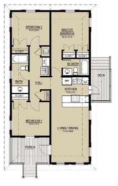 """0018 Plano de Cabaña Hermosa de 95M2   y 3 Dormitorios ,esta comprendida dentro de una bonita y simple distribución de espacios, con un total de 3 dormitorios es una cabaña amplia, uno en """"master suite"""" con baño privado y las demás comparten un cuarto de baño en común de una forma bastante llamativa (miren el plano). La sala de estar, comedor y cocina comparten ambiente, la cocina estilo americana le da a esta cabaña el toque de modernidad."""