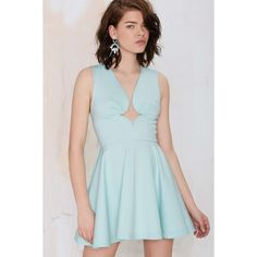Nasty Gal You Crazy Diamond Cutout Dress (295 MXN) ❤ liked on Polyvore featuring dresses, blugl, plunge neck dress, diamond dress, blue pleated dress, blue dress and plunging neckline dress