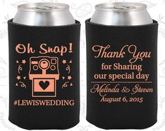 Oh Snap Wedding, Wedding Keepsake, Hashtag Wedding, Camera, Thank you for Sharing Our Special Day, WeddingCoozies (95)