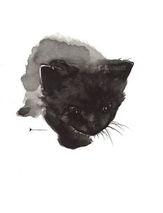 Black cat art print of my watercolor painting, Retains the look of original art by Joanna Szmerdt of WaterColor on Etsy.com