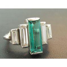 Vintage Platinum Emerald Baguette And Diamond Baguette Ring