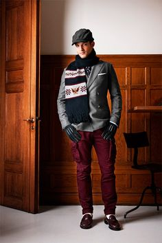 Michael Bastian Fall/Winter 2013 collection for Gant was inspired by artist Norman Rockwell's work. Michael Bastian, Looking Dapper, Festival Fashion, Mens Fitness, Fall Winter, Autumn, Winter Jackets, Menswear, Leather Jacket