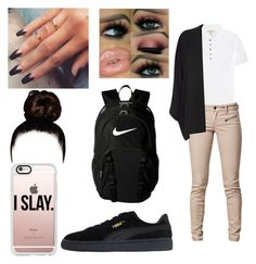 """""""FIRST DAY OF SCHOOL"""" by khristeencollins ❤ liked on Polyvore featuring Burberry, SELECTED, Oasis, Puma, Casetify, NIKE, BackToSchool, school and pumas"""