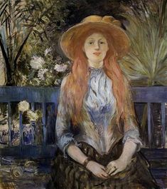 On a Bench 1889 - Berthe Morisot - (French: 1841-1895)
