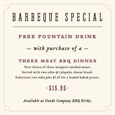 Check out our location on Kirby and get a free drink with our BBQ special.