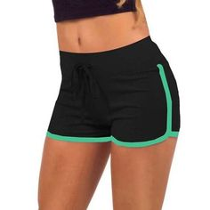 Esportes Fast Drying Drawstring Women Shorts Casual Anti Emptied Cotton Contrast Elastic Waist Correndo Short Pants