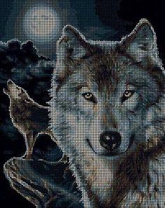 123 Cross Stitch, Cross Stitch Needles, Cross Stitch Cards, Cross Stitch Animals, Cross Stitching, Cross Stitch Patterns, Crochet Square Patterns, Crochet Blanket Patterns, Crochet Wolf