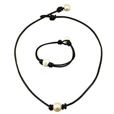 """16 """" Single Cultured Freshwater Pearl Necklace for Women Genuine Leather Choker Jewelry Handmade-Black White Necklace & Bracelet"""