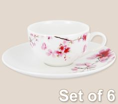 Teacup and Saucer - Expresso, Set of 6- Designed in Australia - Water Blossom