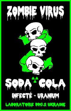 Etiquette de soda cola zombie