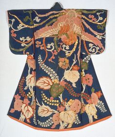 """Kosode (Kimono) with Phoenix and Paulownia in Yuzen Dyeing on Blue Crepe (Chirimen) Ground. 19th century.""  Kyoto National Museum"