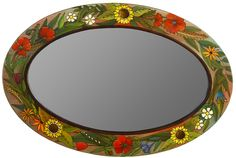 Floral Oval Mirror by Sticks (Wood Mirror) Long Mirror, Oval Mirror, Diy Mirror, Sticks Furniture, Furniture Ideas, Diy Wall Decor For Bedroom, Pottery Painting Designs, Handmade Mirrors, Mirror Painting
