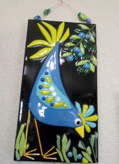 Fused Glass Blue Bird Chicken Plaque Whimsical Decor by jodysart