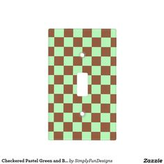 Checkered Pastel Green and Brown Light Switch Cover