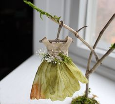 Fairy's Work by Olive* Miniatures , Dress Found in the Garden... Miniature Fairy Dress with Branch Dress Stand ~ Handcrafted by Olive