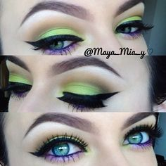 Eyes & brows. Lime green and purple make those blue eyes pop!