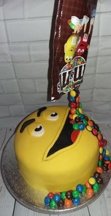 """M & M`s Feed Me Anti- gravity cake Vanilla sponge with buttercream & jam, covered with fondant. Decorated with chocolate M & M`s"" - Boys 16th Birthday Cake, Birthday Cakes For Teens, Birthday Cookies, Cakes For Teenagers, Cakes For Boys, Candy Cakes, Cupcake Cakes, Teen Boy Cakes, Anti Gravity Cake"