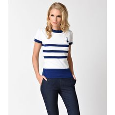 Voodoo Vixen White & Navy Blue Stripe Nautical Parker Sweater (€47) ❤ liked on Polyvore featuring tops, sweaters, striped crew neck sweater, knit sweater, short sleeve crew neck sweater, short sleeve knit sweater and blue knit sweater