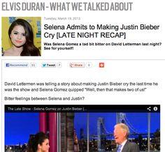 Selena Admits to Making Justin Bieber Cry [LATE NIGHT RECAP]