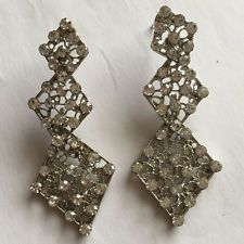 Rhodium plated dangling earrings with push backs and white rhinestones Lot 95A