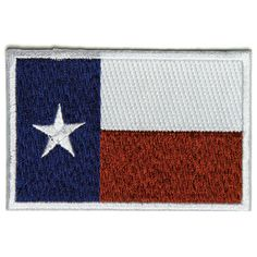 "Licensed Single Count Custom and Unique Rectangle /""Political/"" Texas Lone Star State Military Morale Flag Embroidered Applique Patch {Black /& White Colors} 3 x 2"